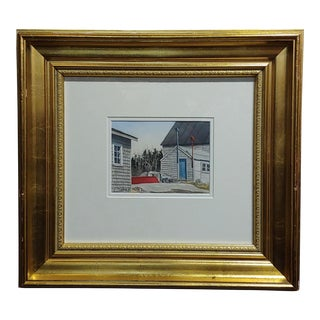 1970s Vintage Gregory Dunham The Cottage With Blue Door Watercolor Painting For Sale