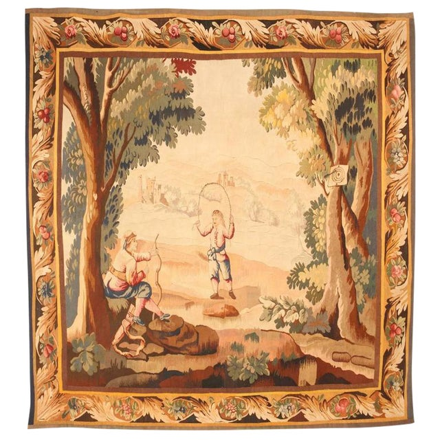 Finely Woven Antique 19th Century French Tapestry For Sale