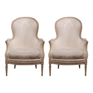 Mid-20th Century French Louis XVI Carved Painted Upholstered Armchairs - a Pair For Sale