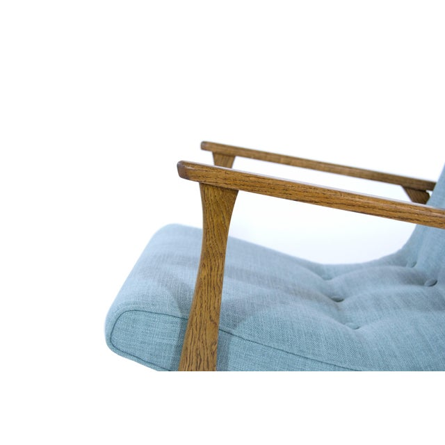 Modernist Scoop Oak Linen Upholstered Lounge Chairs - a Pair For Sale - Image 9 of 10