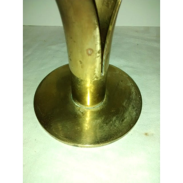 Mid-Century Brass Lily Candleholders - A Pair - Image 6 of 7