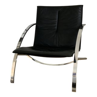 Paul Tuttle Arco Chrome and Black Leather Lounge Chair For Sale