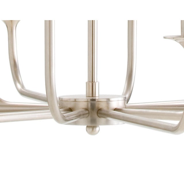Mid-Century Modern Arteriors Parzinger Style Small Breck Silk Nickel Chandelier , bulbs are for display purposes only and...