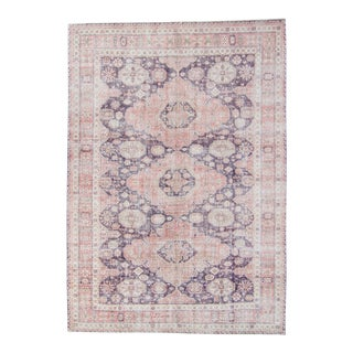 """1950s Vintage Oushak Medallion Purple Pink Wool Cotton Hand-Knotted Rug - 8' X 11'5"""" For Sale"""