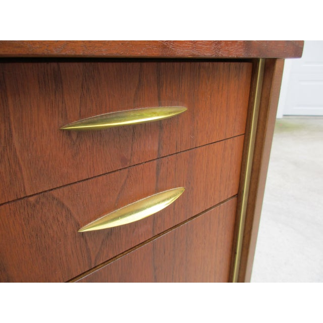 Mid Century Walnut Triple Dresser with Reversible Cane Side Panels For Sale - Image 9 of 11