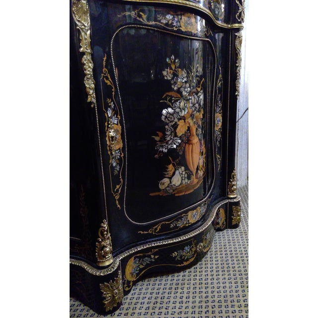 Black 20th Century Italian Ebonized Mother of Pearl Cabinet For Sale - Image 8 of 11