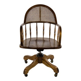 Late 19th Century Antique English Oak and Cane Swivel Office Chair For Sale