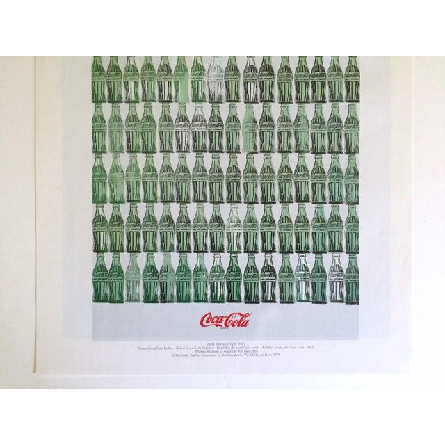 "Americana Andy Warhol Foundation Vintage 1999 Pop Art Lithograph Calendar Print "" Green Coca - Cola Bottles "" 1962 For Sale - Image 3 of 8"