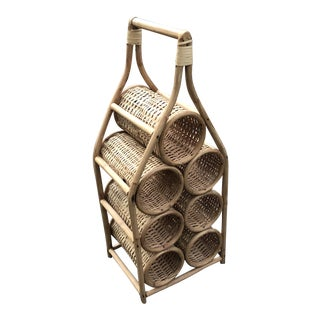 Vintage Mid Century Rattan Nine Bottle Wine Rack For Sale