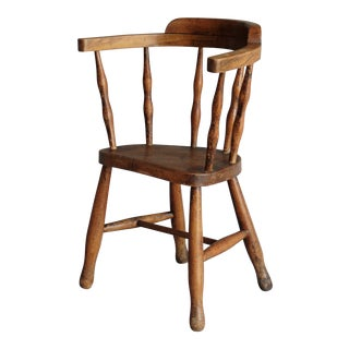 19th-Century English Elm Wood Child's Chair For Sale