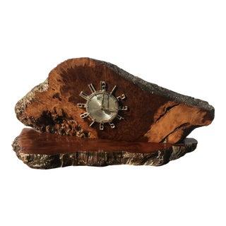 Vintage Redwood Burl Clock For Sale