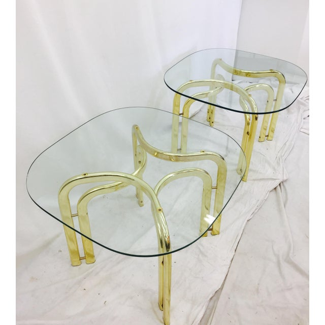 Modern Brass Side Tables - A Pair For Sale - Image 9 of 11