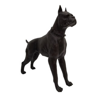 1970s Figurative Bronze Dog Statue