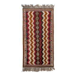 Antique Gabbeh Geometric Beige-Brown and Red Wool Persian Rug For Sale
