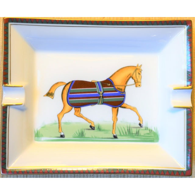 1970s Vintage Hermes Striped Equestrian Cigar Tray For Sale - Image 10 of 10