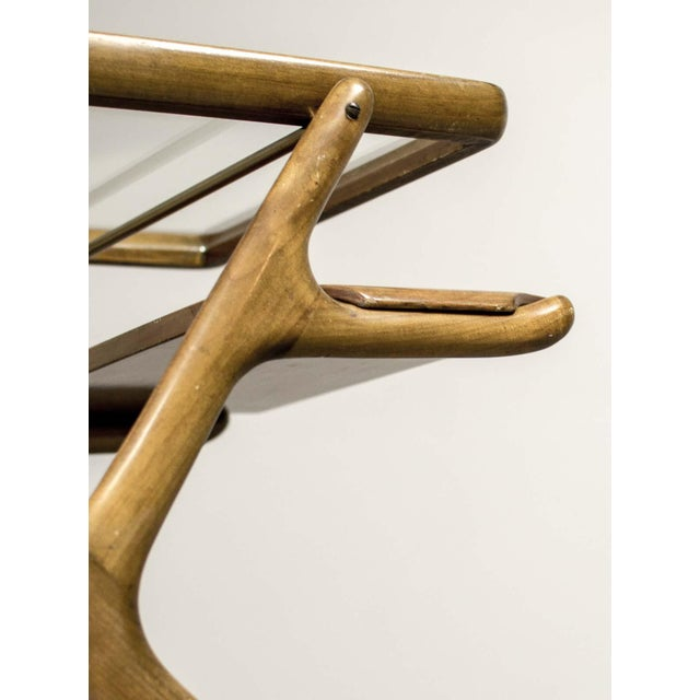 Mid-Century Italian Design Walnut Bar Trolley by Cesare Lacca for Cassina, 1950s For Sale - Image 9 of 11