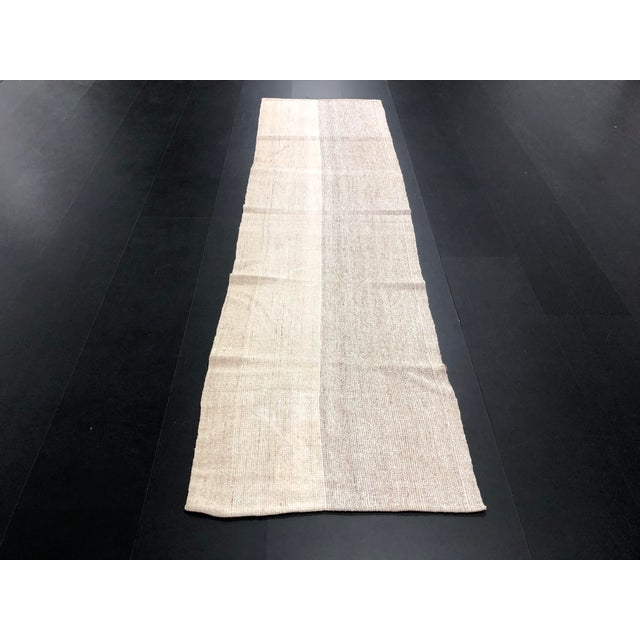 Islamic 1960s Vintage Turkish Aztec Style Natural Wool Runner Rug - 2′5″ × 8′6″ For Sale - Image 3 of 11