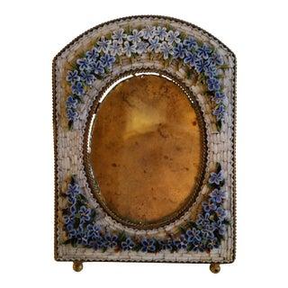 Antique Floral Mosaic Photo Frame For Sale
