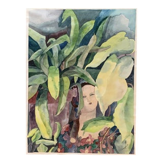Original Vintage Tropical Landscape With Woman Watercolor Painting Signed For Sale