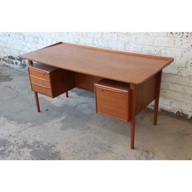 Danish Modern Danish Modern Teak Floating Top Desk by Peter Løvig Nielsen for Lovig Dansk, 1969 For Sale - Image 3 of 13
