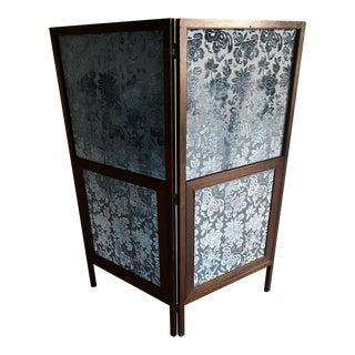 Blue Silk Cut Velvet & Mahogany 2 Panel Screen For Sale