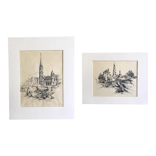 Vintage Original Sketches - a Pair