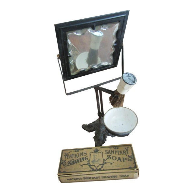 Victorian Era Cast Iron Shaving Mirror, Brush & Antique Soap Box Set For Sale