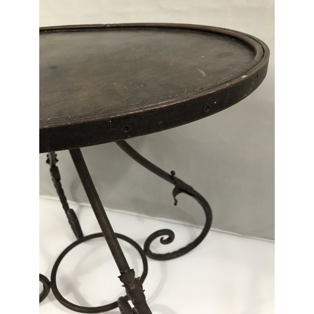 Oval Metal Side Table For Sale In Charlotte - Image 6 of 9