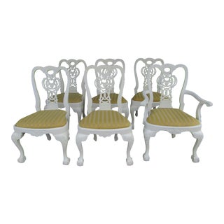 Carved Wood White Dining Chairs - Set of 6