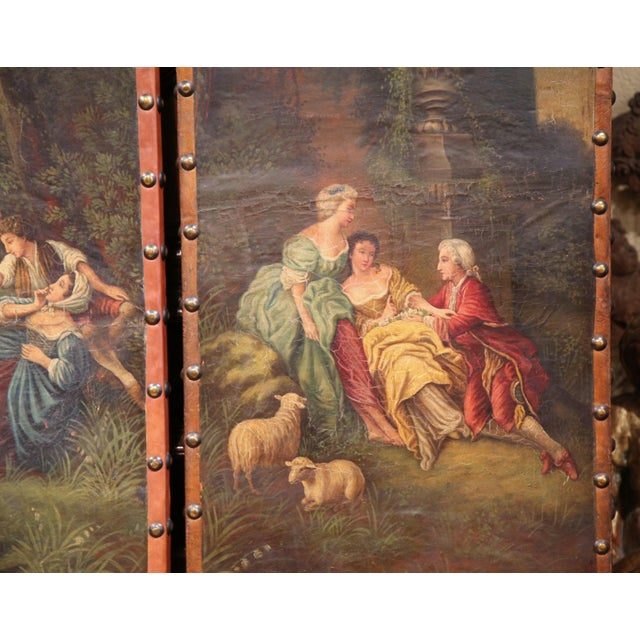 18th Century, French Hand-Painted Leather Four-Panel Screen from Lyon For Sale In Dallas - Image 6 of 11