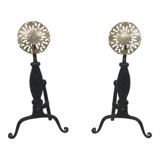 Virginia Metalcrafters Brass & Iron Fireplace Andirons - a Pair For Sale