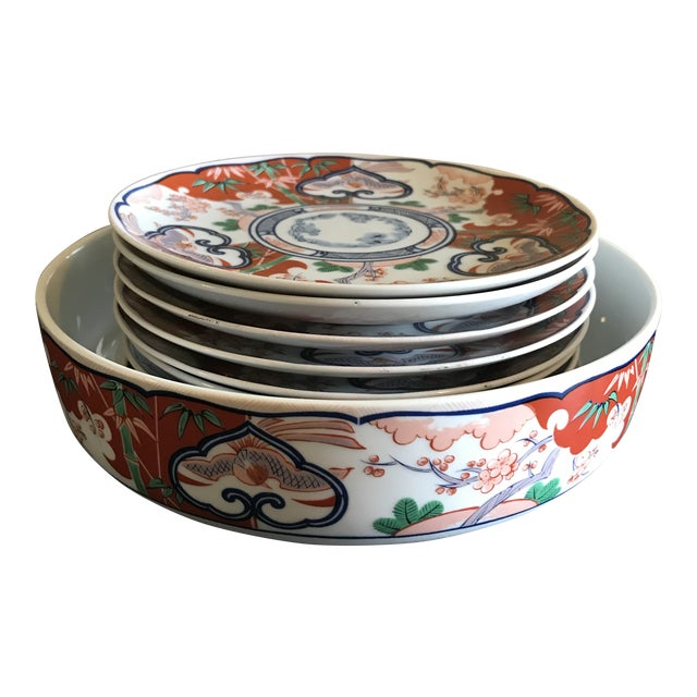 Mid-Century Georges Briard Chinoiserie Serving Bowl and Plates - Set of 9 For Sale