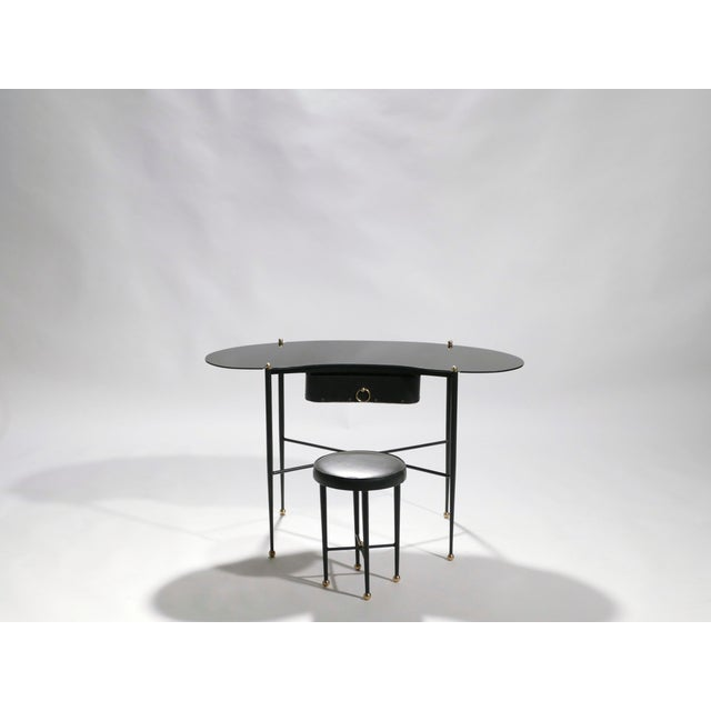 Jacques Adnet Leather Desk Vanity With Stool, 1940s For Sale - Image 6 of 13