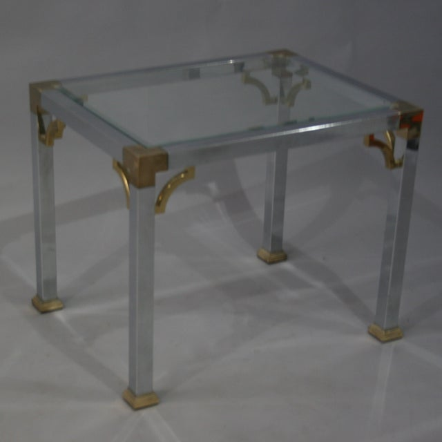 Mastercraft Chrome Brass Chinoiserie Side Table - Image 2 of 9