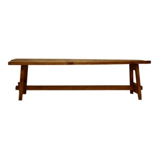 Rustic Pine Stretcher Base Bench For Sale