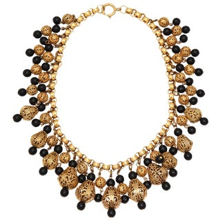 Black Bead and Goldtone Filigree Necklace by Regency For Sale