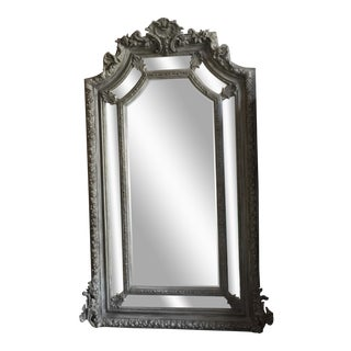 Grey Acanthus Leaf Oversized Floor Mirror For Sale