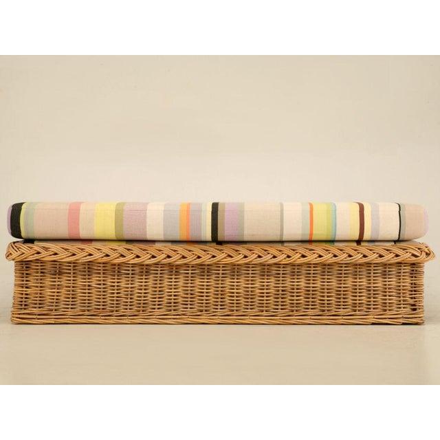 "Vintage Italian Les Toiles Du Soleil Upholstered ""Wicker Works"" Bench - Image 2 of 11"