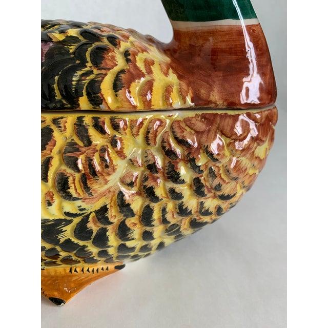 Green Majolica Pottery Mallard Duck Tureen For Sale - Image 8 of 11