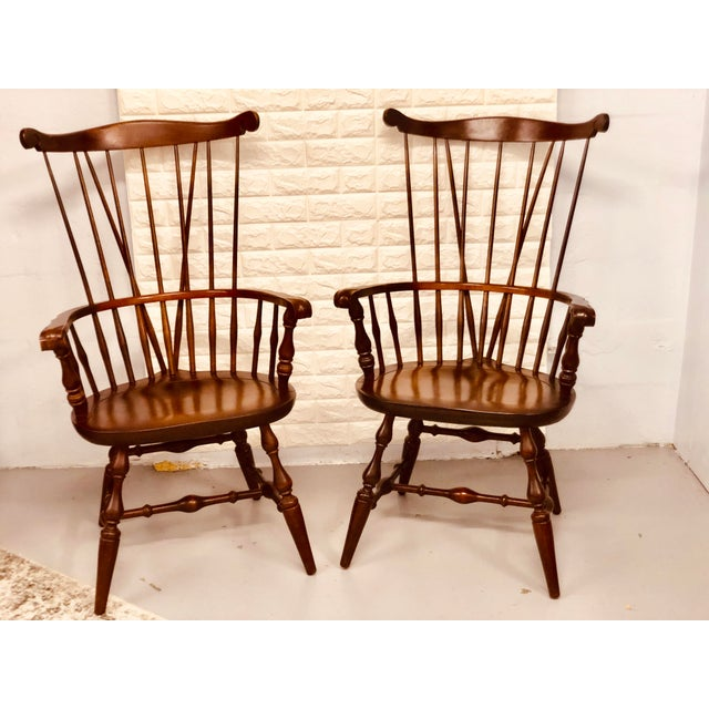 1980s Vintage Nichols & Stone Windsor Chairs- A Pair For Sale - Image 13 of 13