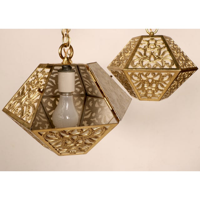 3-Tier Hanging Brass Chinoiserie Lamp - Image 4 of 5