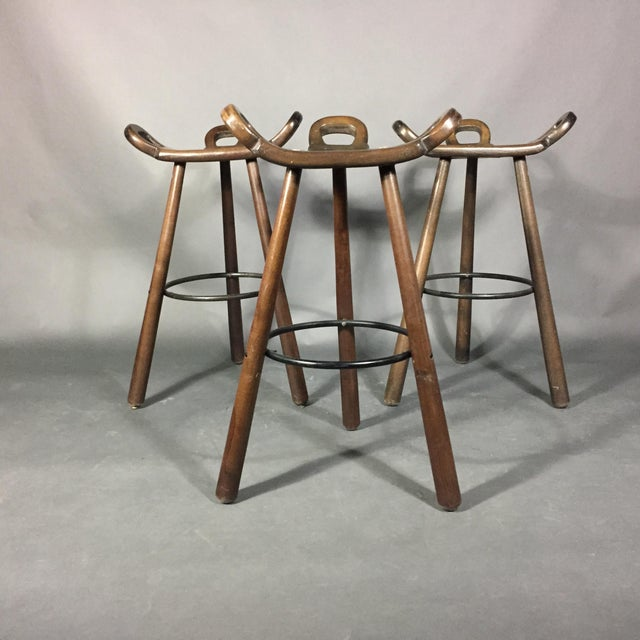 A classic brutalist bar stool designed by Sergio Rodriquez and manufactured by Conform in Spain starting in the 1970s....