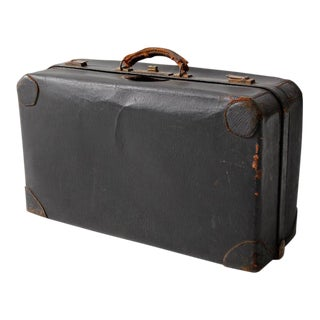 Vintage Black Leather Suitcase For Sale