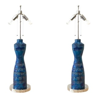 """Italian Glazed Ceramic """"Rimini Blue"""" and Nickel Table Lamps by Bitossi - A Pair"""