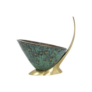 Mid Mod Stylized Brass Bowl For Sale