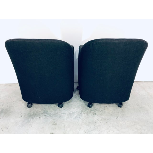 Thayer Coggin Thayer Coggin Black Denim Dining Arm Chairs- a Pair For Sale - Image 4 of 13