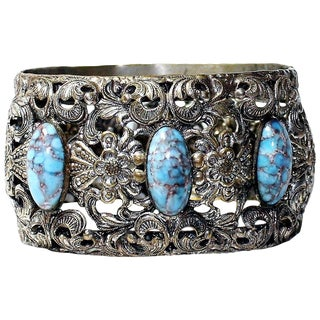 1930s Plated Brass & Blue Glass Cabochon Hinged Bangle For Sale