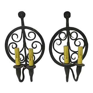 Colonial Double Arm Wrought Iron Sconces - a Pair For Sale