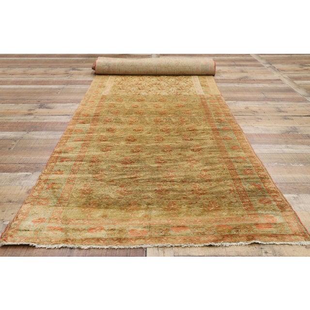 Yellow Antique Persian Mahal Long Persian Carpet Runner - 03'09 X 28'04 For Sale - Image 8 of 10