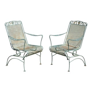 Meadowcraft Dogwood Wrought Iron Green Coil Spring Dining Arm Chairs - a Pair For Sale